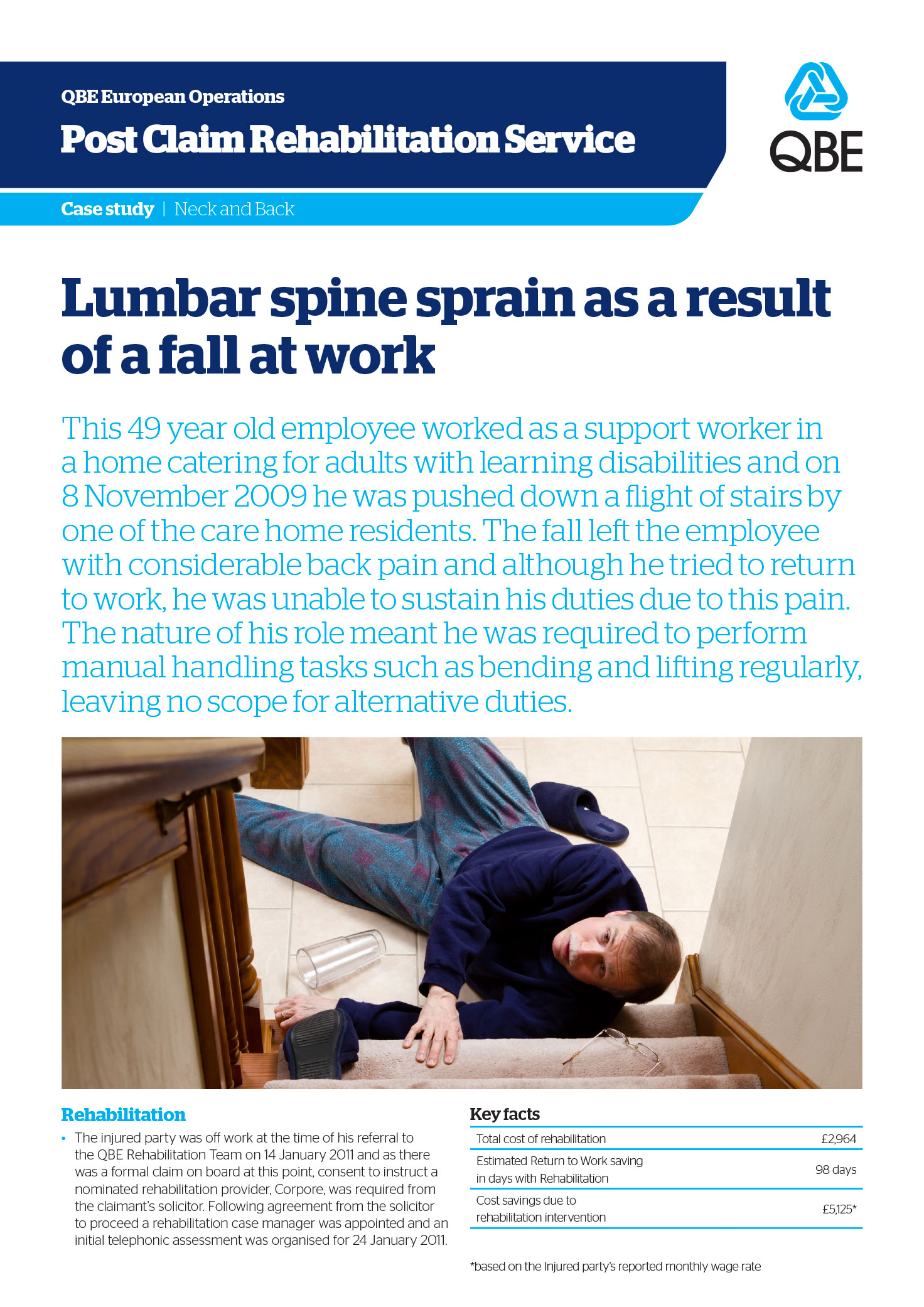 Lumbar spine sprain as a result of a fall at work