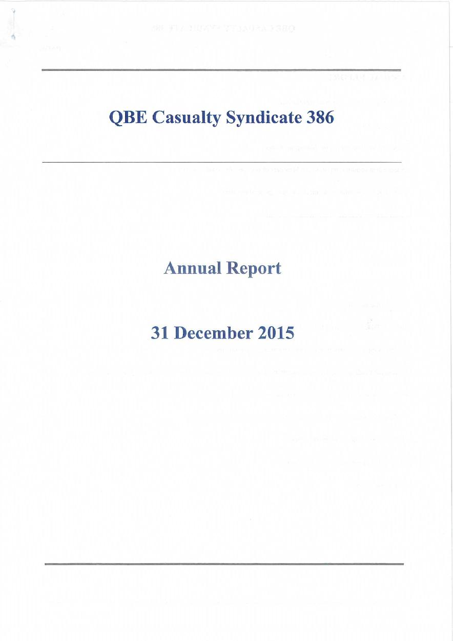 QBE Casualty Syndicate 386 Annual Report 2015