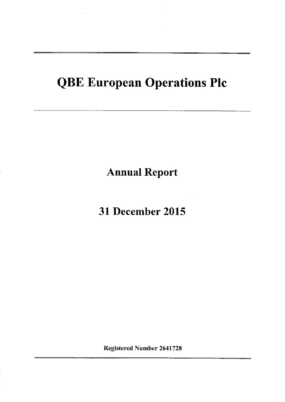 QBE European Operations Annual Report 2015