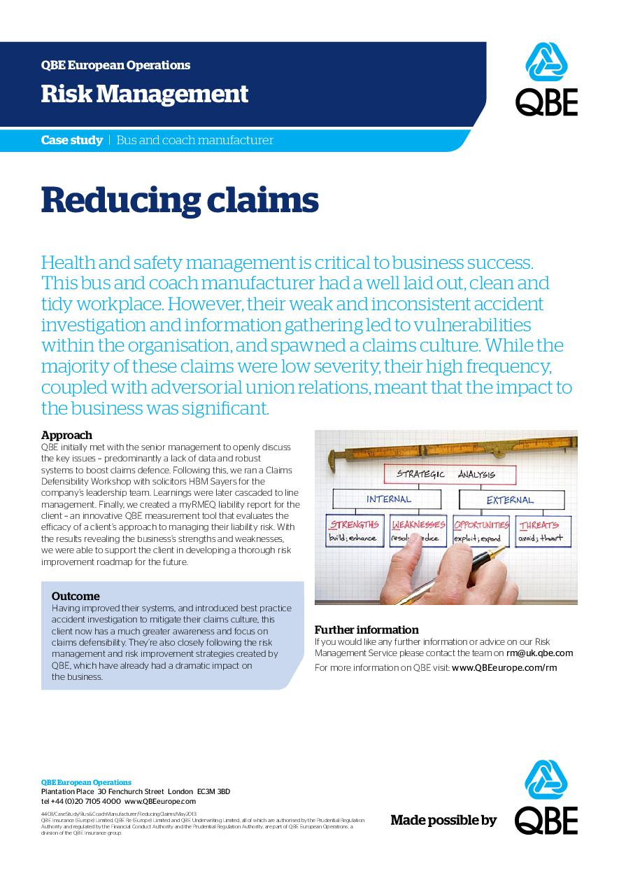 Bus and coach manufacturer - Reducing claims (PDF 193Kb)