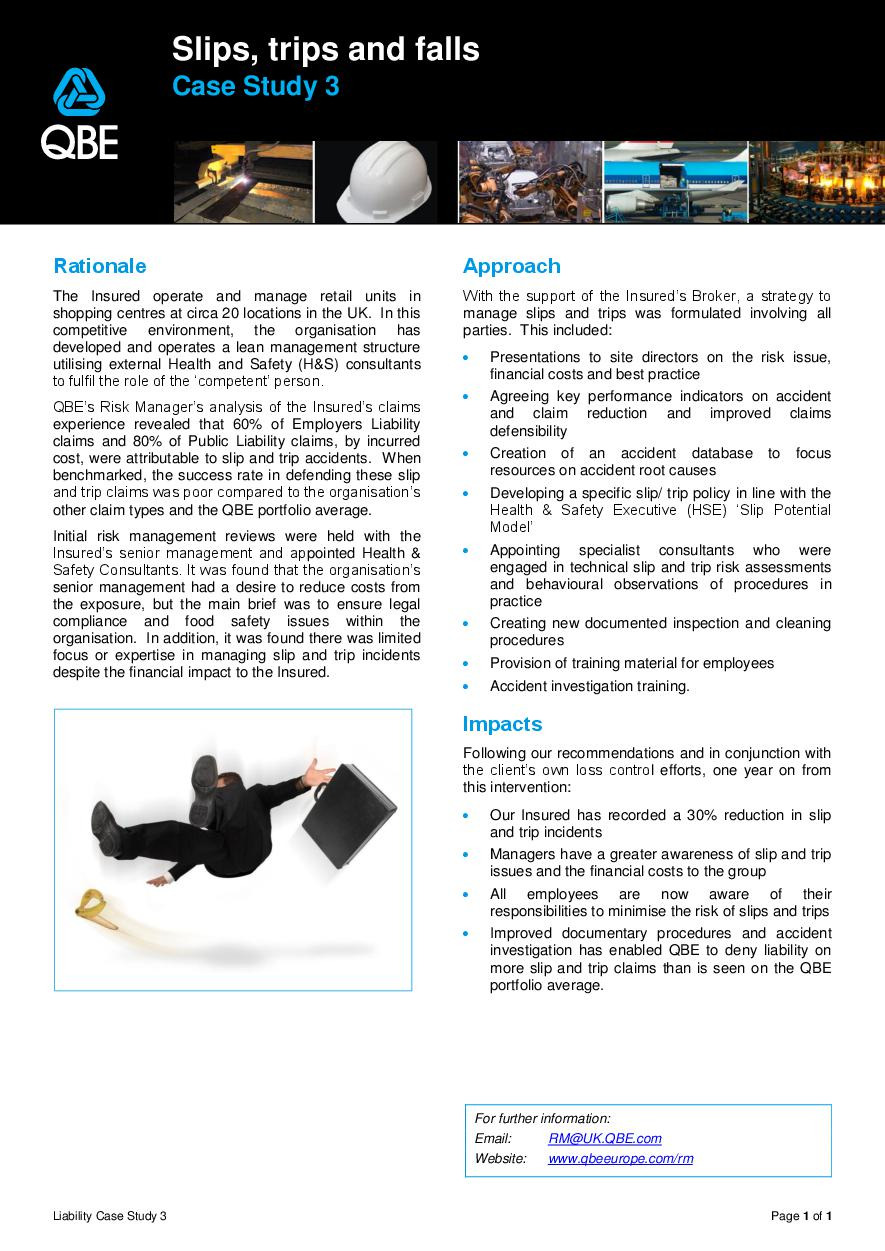QBE Issues Forum - Slips, Trips and Falls (PDF 176Kb)