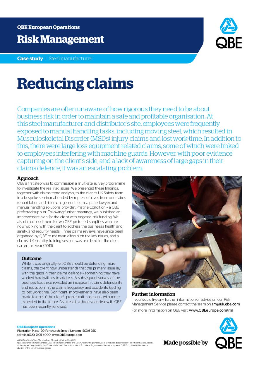 Steel Manufacturer - Reducing claims (PDF 205Kb)