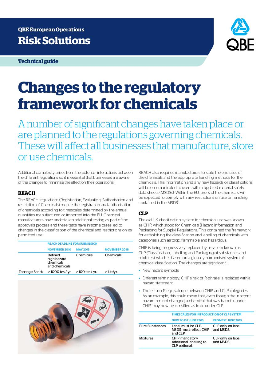 Changes to the regulatory framework for chemicals (PDF 250Kb)