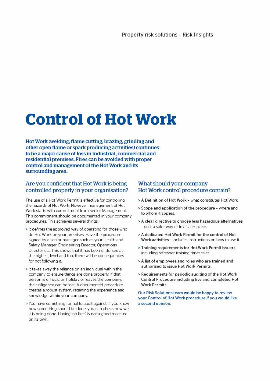 Control of Hot Work (PDF 672Kb)