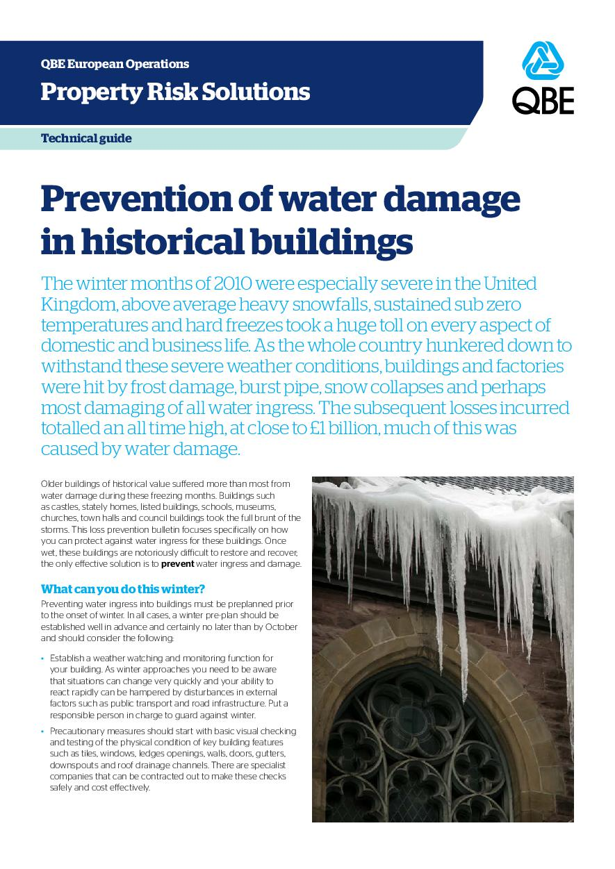 Prevention of Water Damage in Historical Buildings (PDF 414Kb)