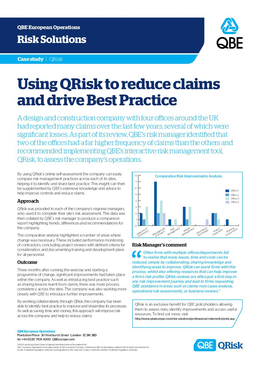 Using QRisk to reduce claims and drive best practice (PDF 549Kb)