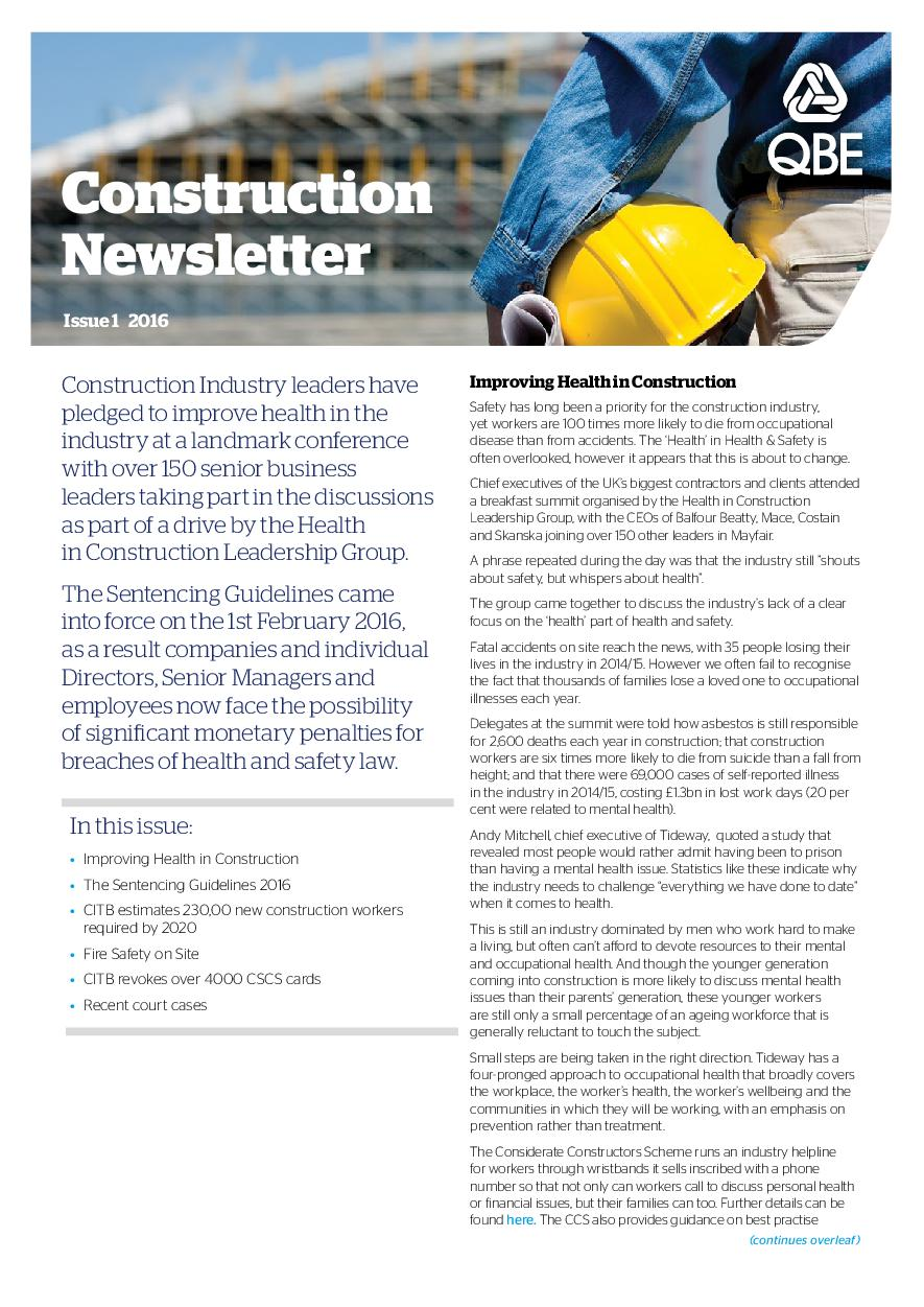 Construction Newsletter - Issue 1 2016 (PDF 438Kb)