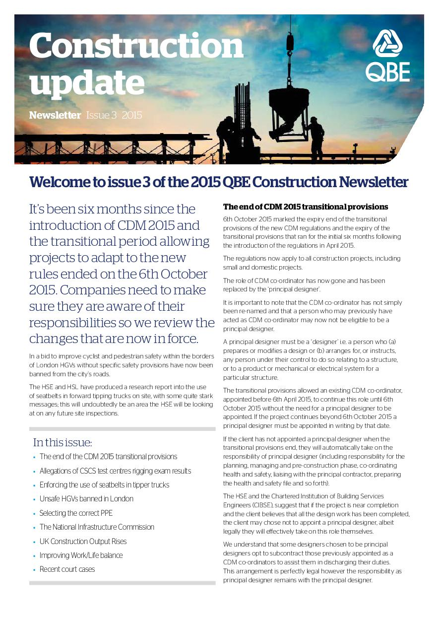 Construction Newsletter - Issue 3 2015 (PDF 476Kb)
