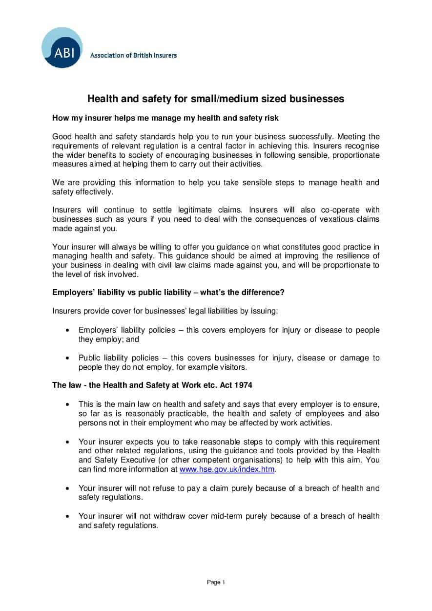 Health and safety for small and medium sized business (PDF 41Kb)