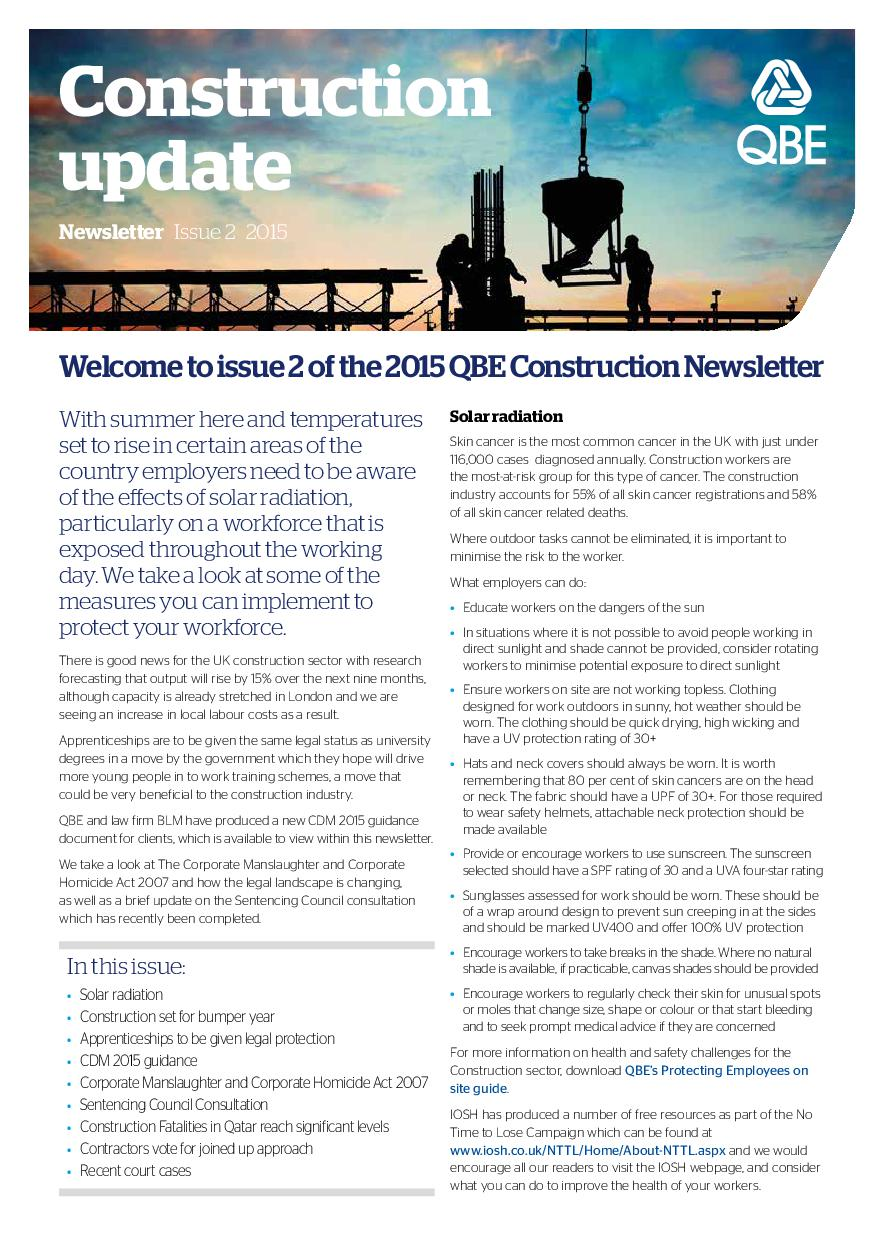 Construction Newsletter - Issue 2 2015 (PDF 311Kb)