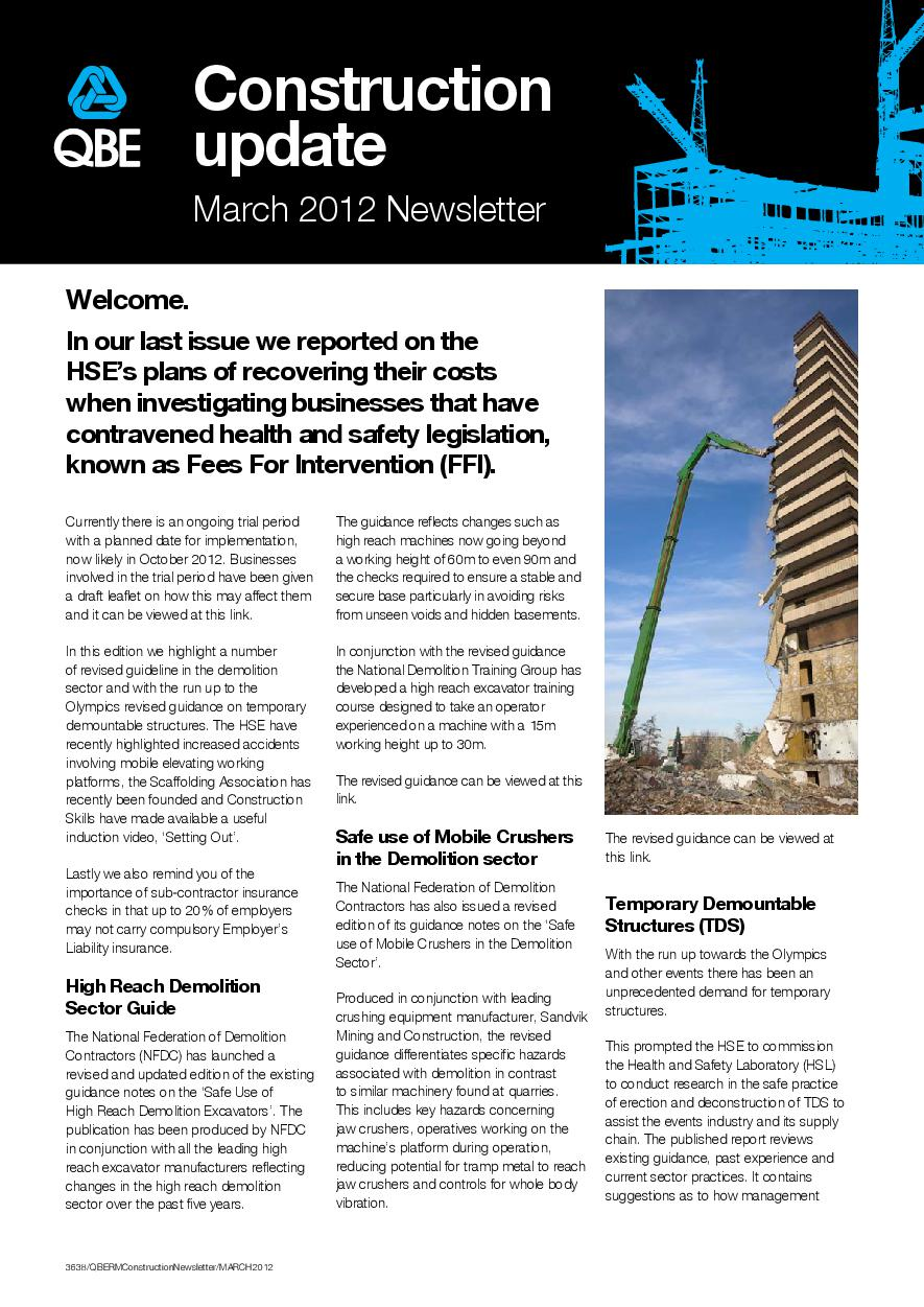 Construction Newsletter - March 2012 (PDF 344Kb)