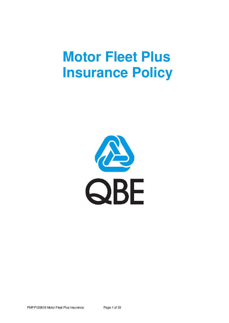 ARCHIVE - PMFP120816 Motor Fleet Plus Insurance Policy