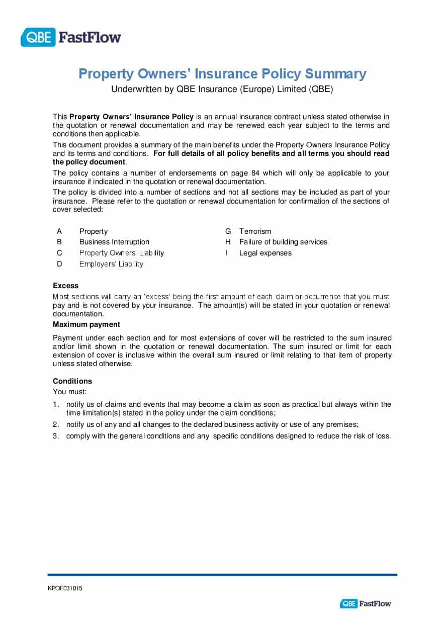ARCHIVE - KPOF031015 FastFlow Property Owners Policy summary