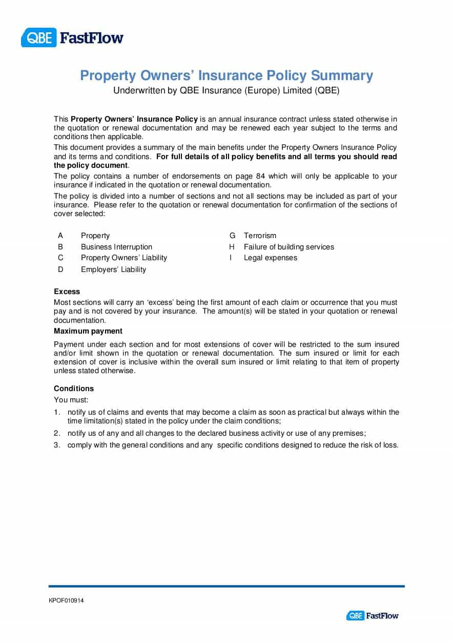 ARCHIVE - KPOF010914 FastFlow Property Owners Policy summary