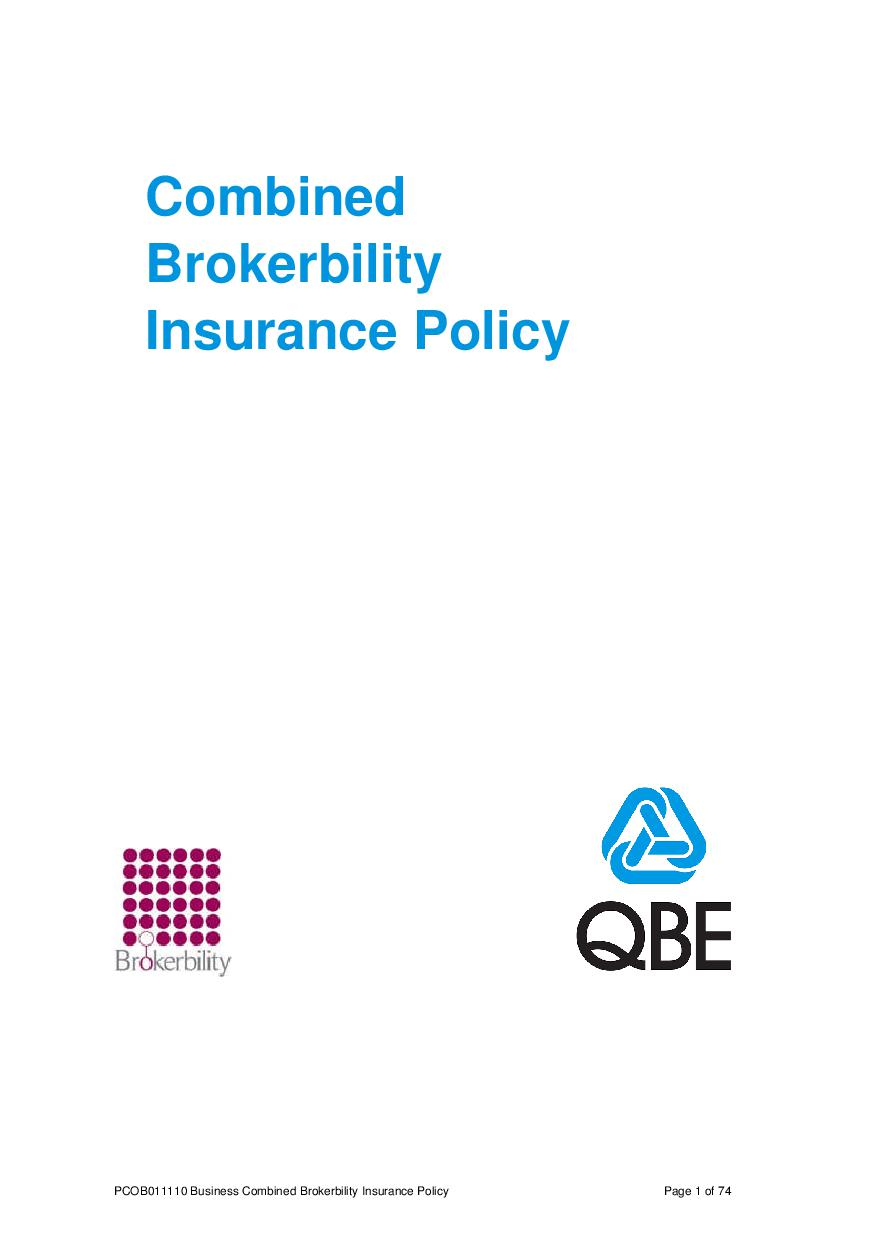 ARCHIVE - PCOB011110 Business Combined Brokerbility Policy