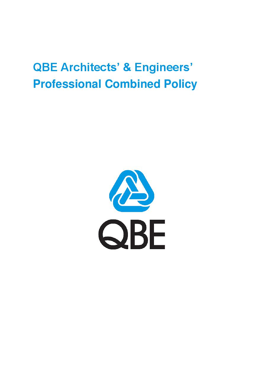 ARCHIVE - PJAS040515 QBE Architects' and Engineers' Professional Combined Liability