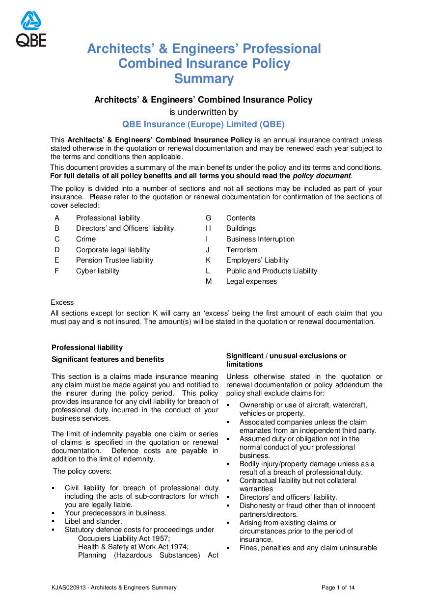 ARCHIVE - KJAS020913 Architects and Engineers Professional Combined Summary