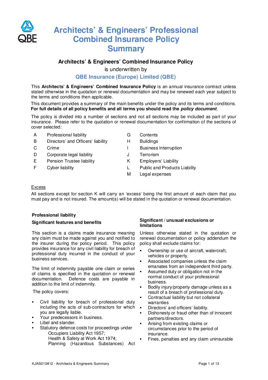ARCHIVE - KJAS010412 Architects and Engineers Professional Combined Summary