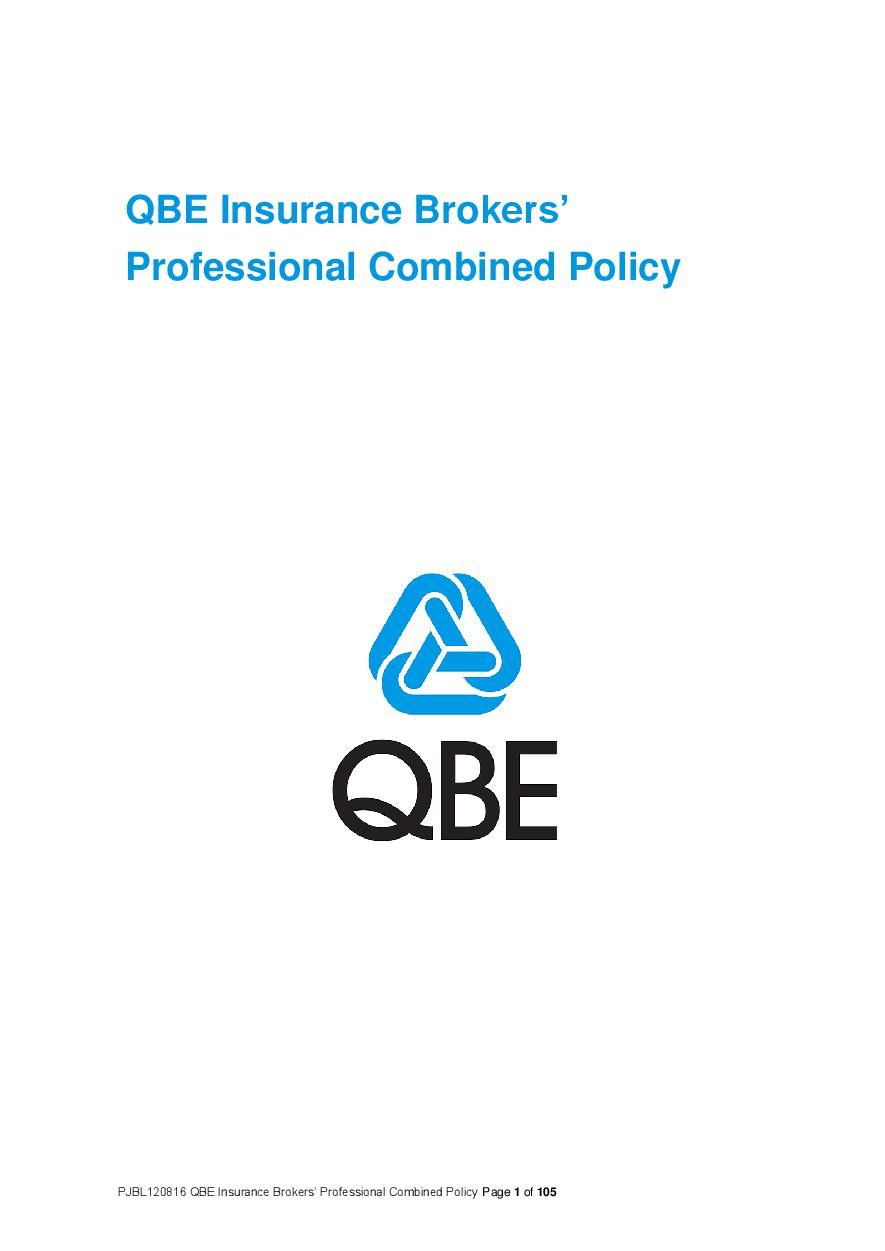 ARCHIVE - PJBL120816 QBE Insurance Brokers' Professional Combined Liability Policy