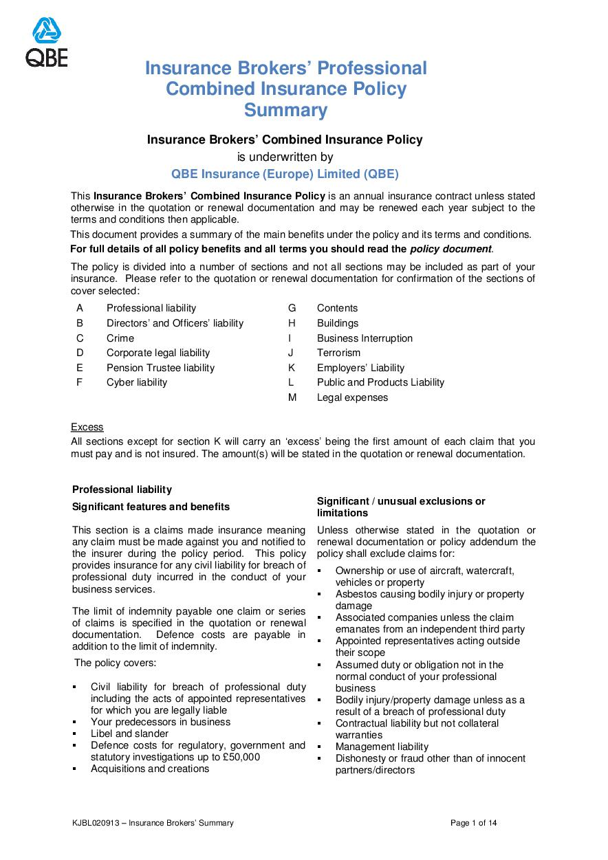 ARCHIVE - KJBL020913 Insurance Brokers' Professional Combined Summary