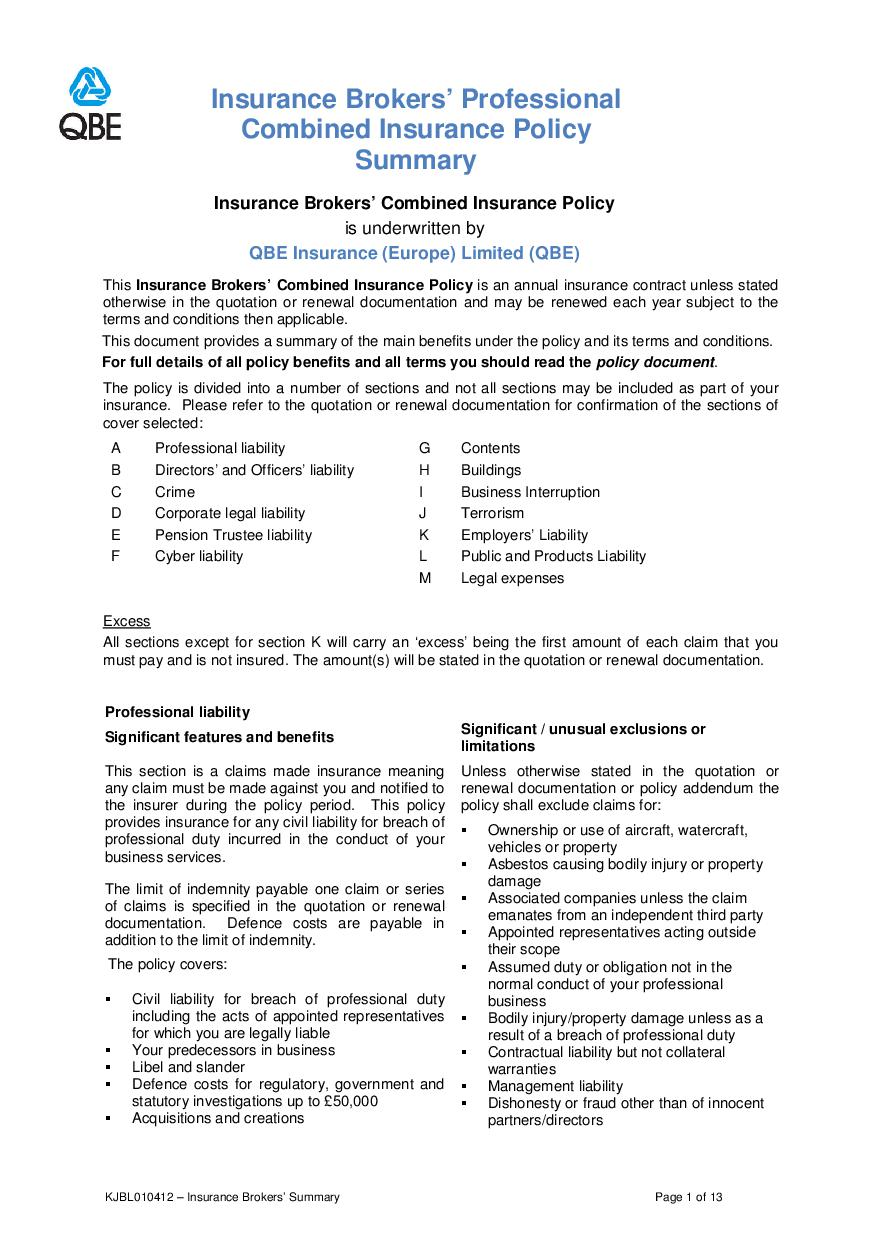 ARCHIVE - KJBL010412 Insurance Brokers' Professional Combined Summary