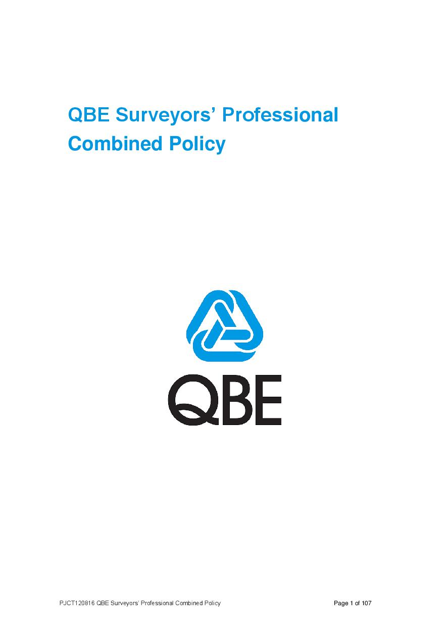 ARCHIVE - PJCT120816 QBE Surveyors' Professional Combined Liability Policy