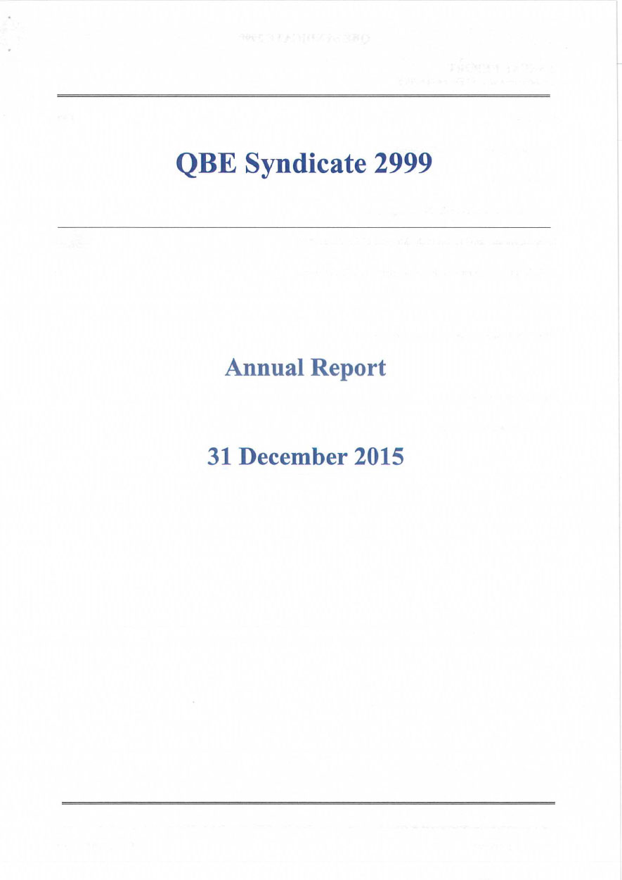 QBE Syndicate 2999 Annual Report 2015