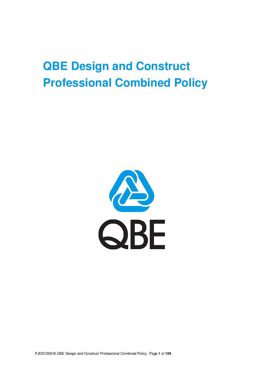 ARCHIVE - PJDD120816 QBE Design and Construct Professional Combined Liability Policy