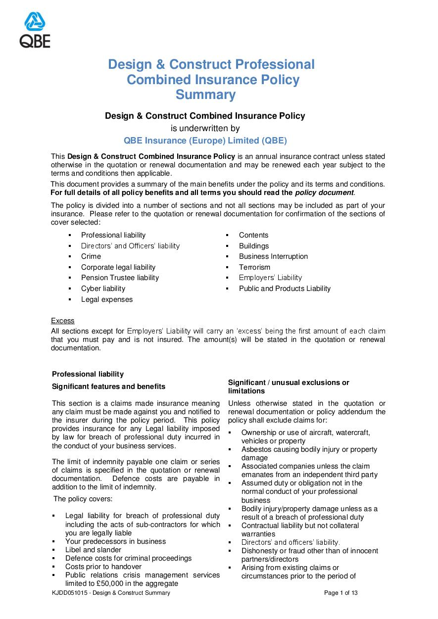 ARCHIVE - KJDD051015 Design and Construct Professional Combined Summary