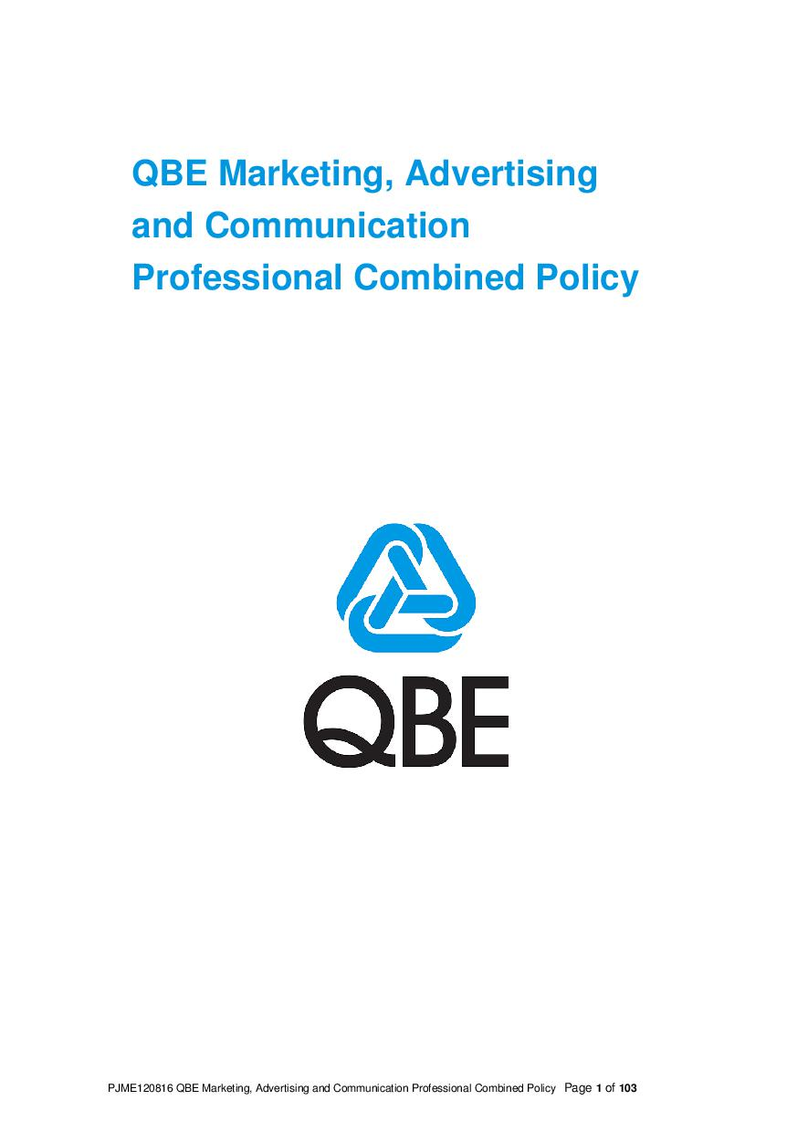 ARCHIVE - PJME120816 QBE Marketing Advertising and Communication Professional Liability Policy