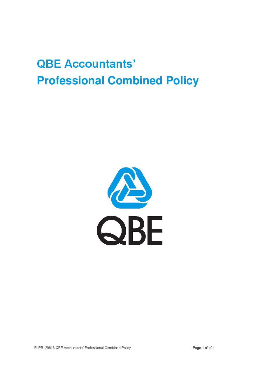 ARCHIVE - PJPB120816 QBE Accountants' Professional Combined Liability Policy