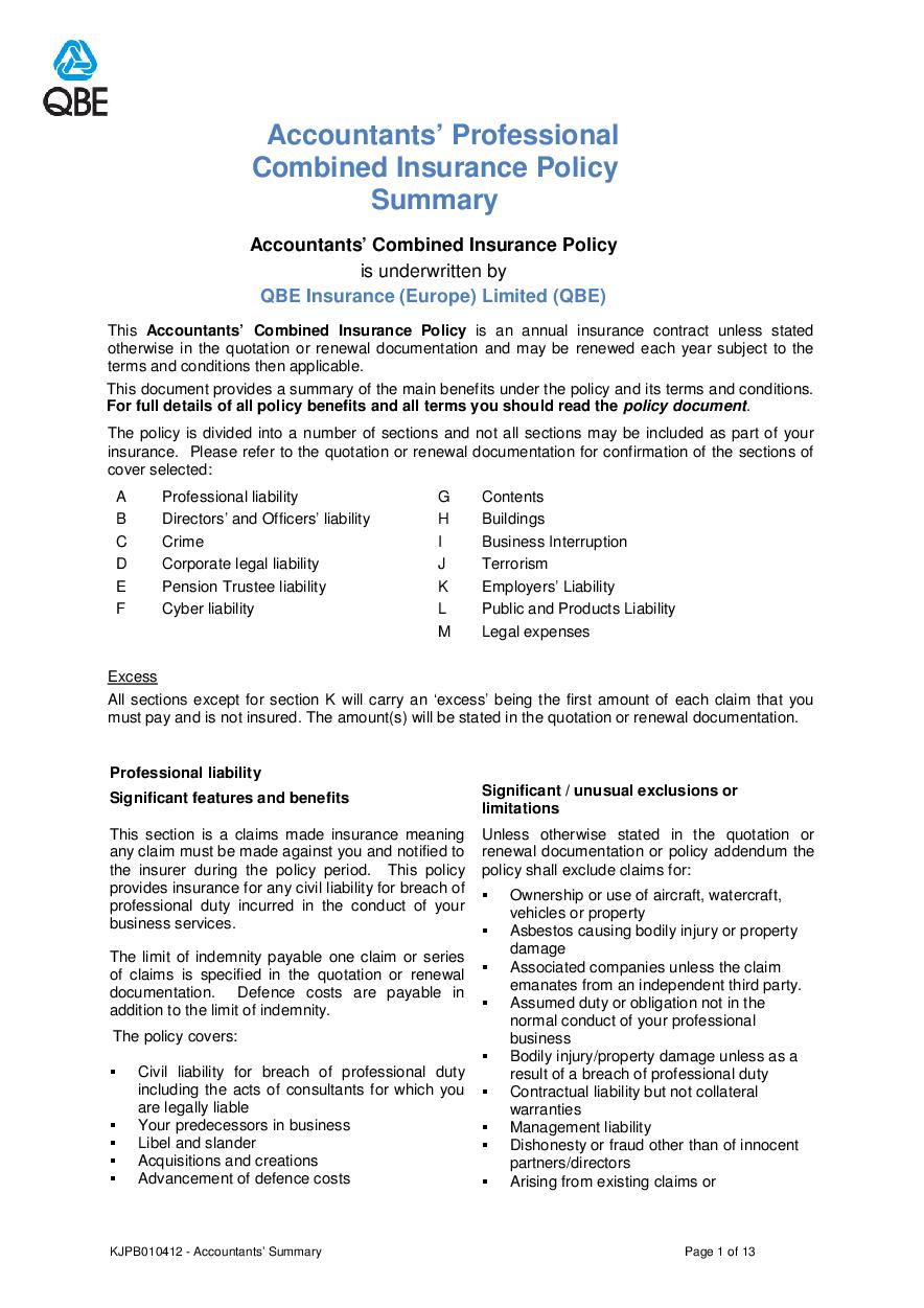 ARCHIVE - KJPB010412 Accountants' Professional Combined Summary