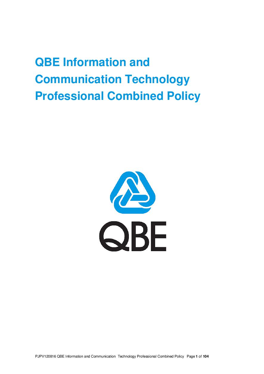 ARCHIVE - PJPV120816 QBE Information Communication Technology Combined Liability