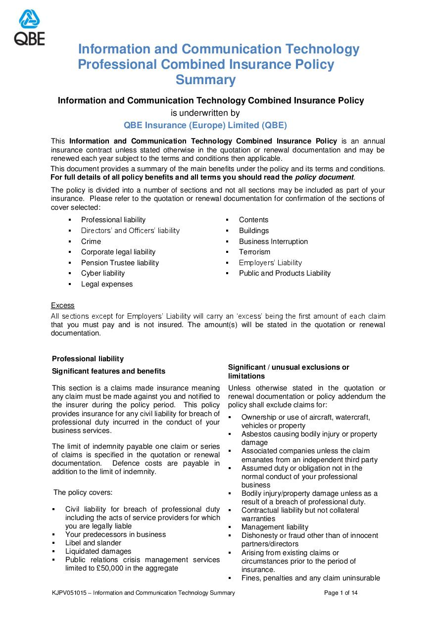 ARCHIVE - KJPV051015 Information and Communication Technology Professional Combined Summary