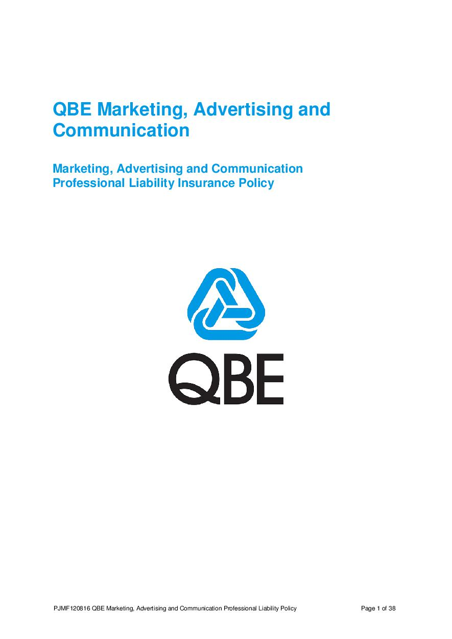 ARCHIVE - PJMF120816 QBE Marketing, Advertising and Communication Liability