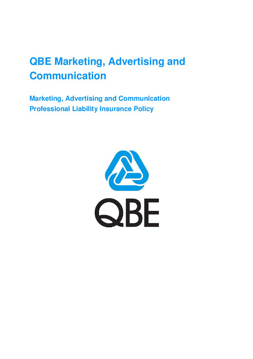 ARCHIVE - JMF020913 QBE Marketing, Advertising, Communication Prof Liability