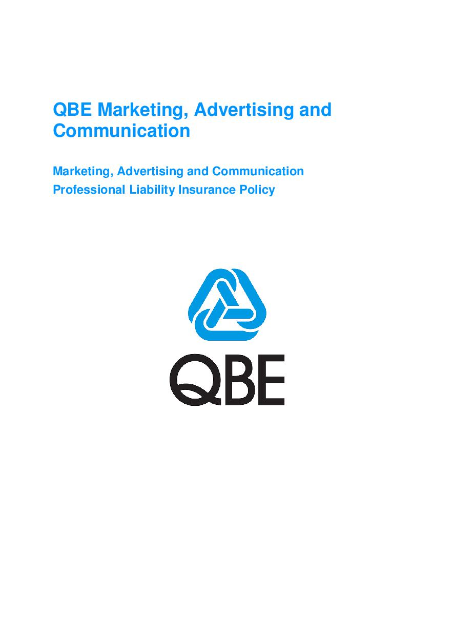 ARCHIVE - JMF010113 Marketing, Advertising and Communication Professional Liability Policy