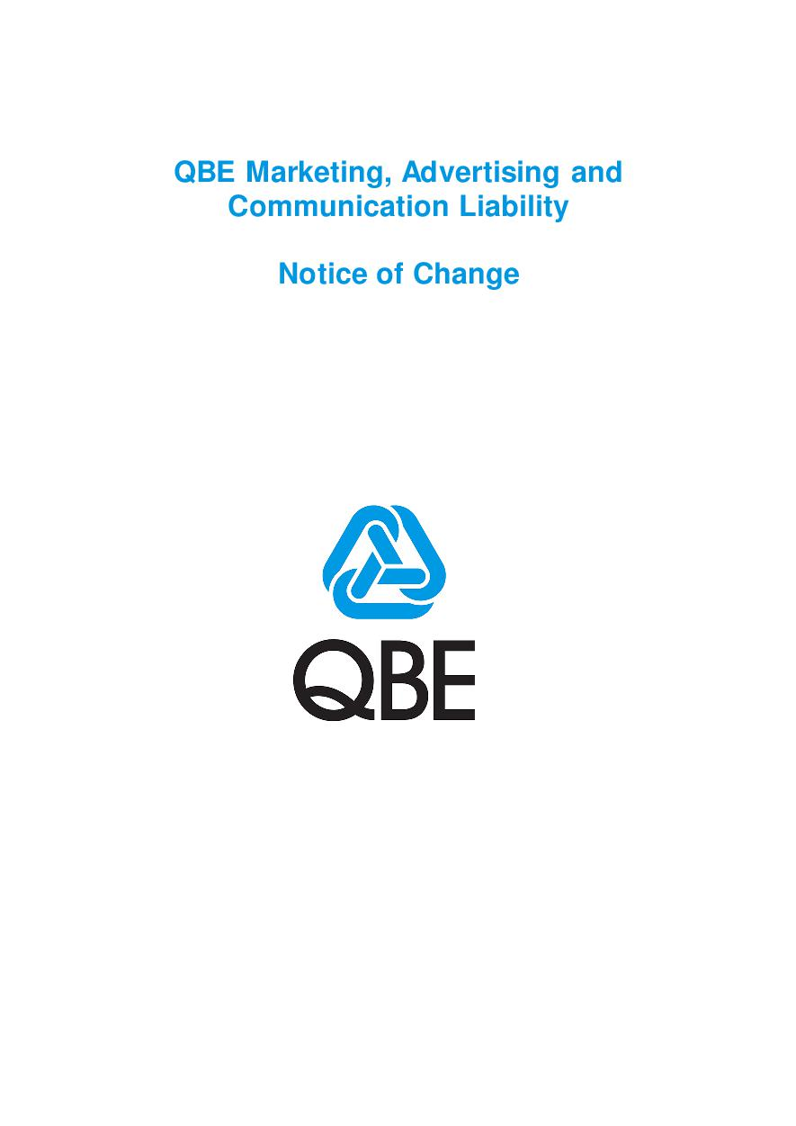 NJMF120816 QBE Marketing, Advertising and Communication Liability Notice of Change