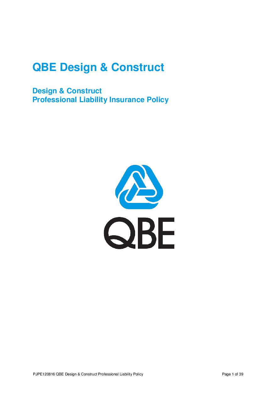 ARCHIVE - PJPE120816 QBE Design and Construct Professional Liability