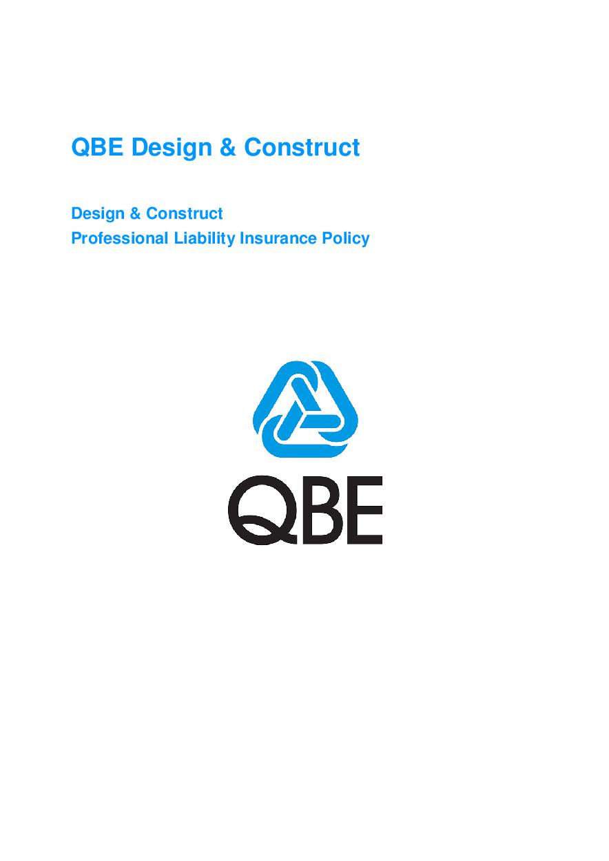 ARCHIVE - JPE020913 QBE Design and Construct Profession Liability Policy