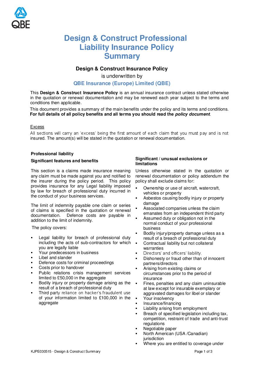KJPE030515 Design and Construct Professional Liability Summary