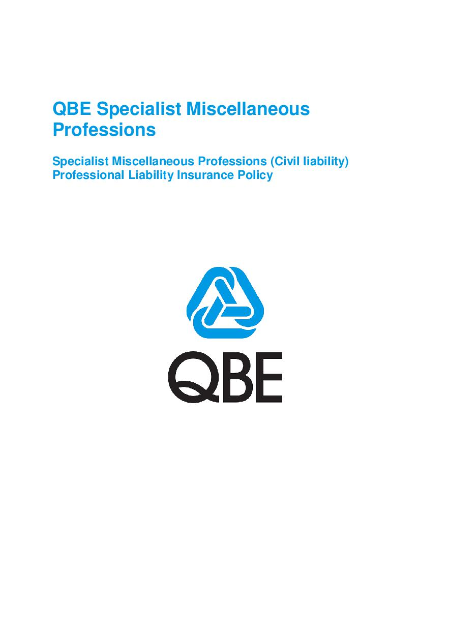 ARCHIVE - PJPJ120816 QBE Specialist Miscellaneous Professional Liability