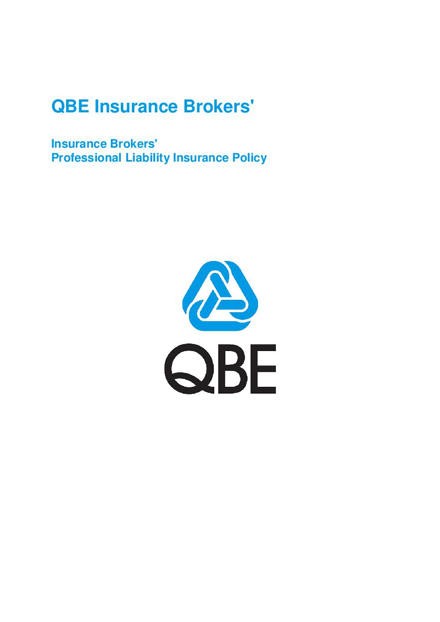 ARCHIVE - PJPK030515 QBE Insurance Brokers' Professional Liability Policy