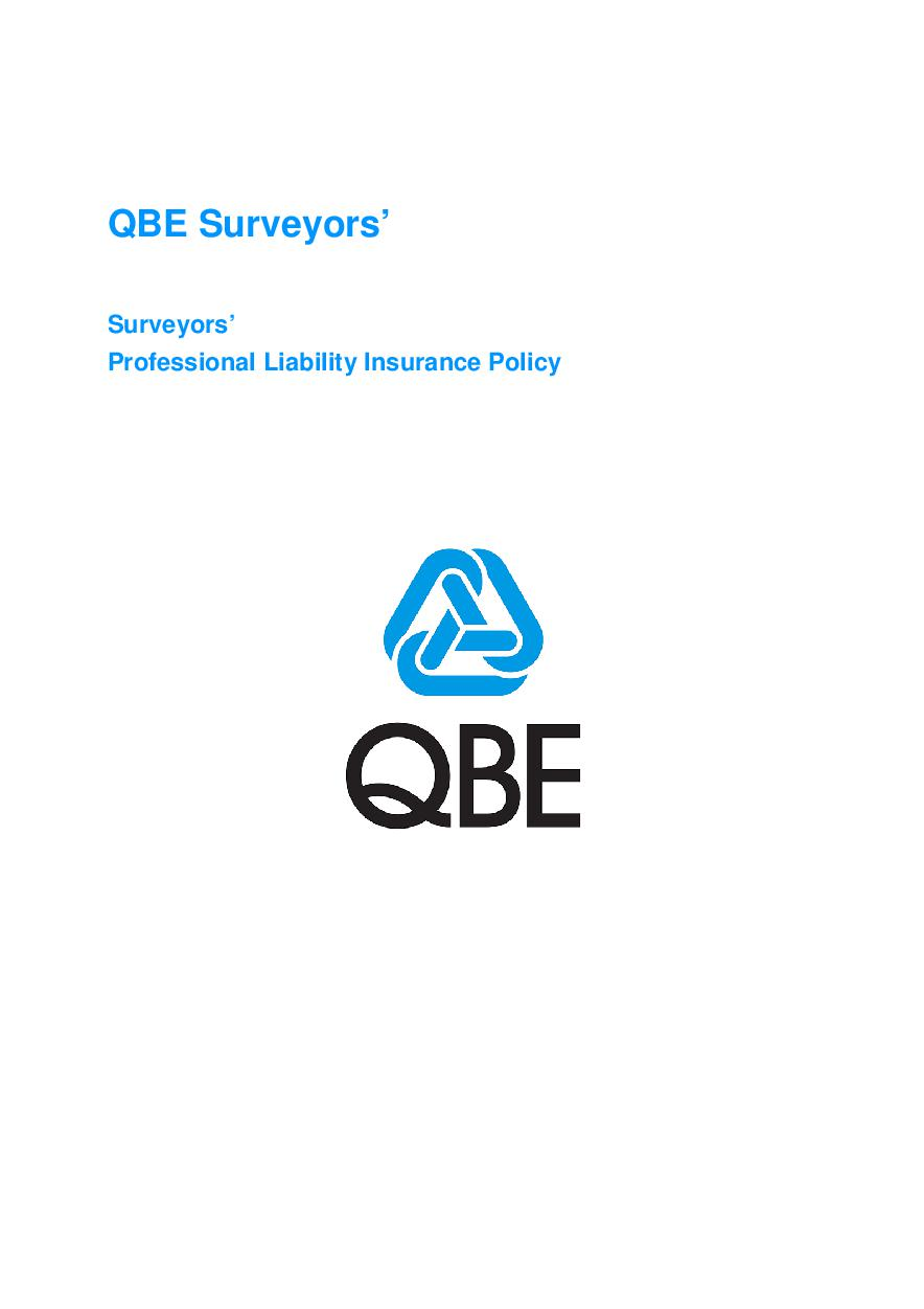 ARCHIVE - JPL030913 QBE Surveyors' Professional Liability Policy