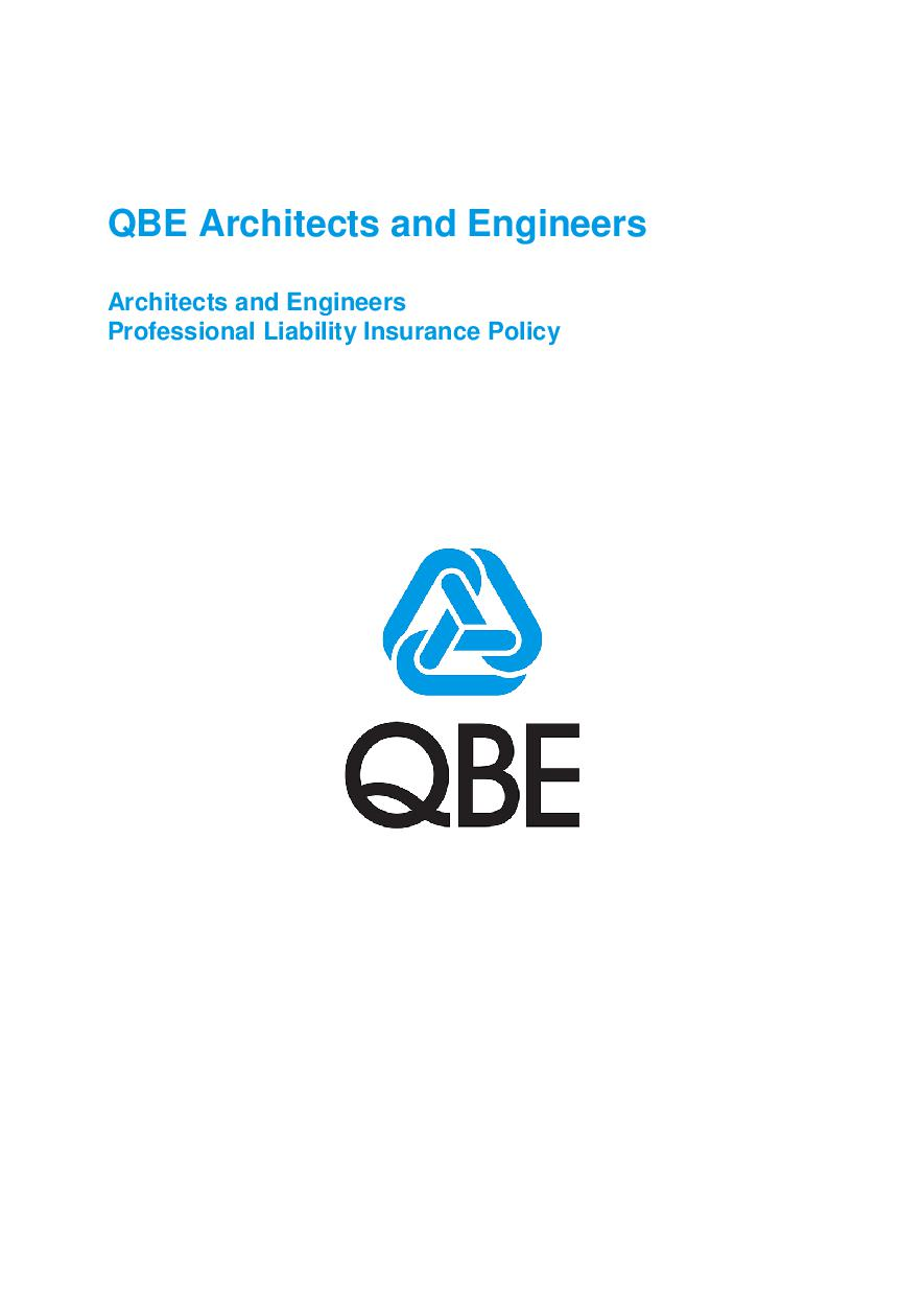 ARCHIVE - PJPR030515 QBE Architects' and Engineers' Professional Liability Policy