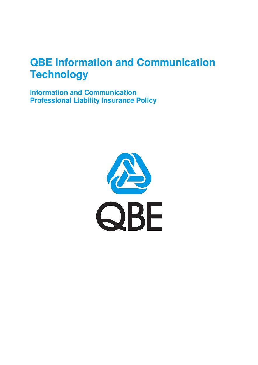 ARCHIVE - PJPW030515 QBE Information Communication Technology Professional Liability
