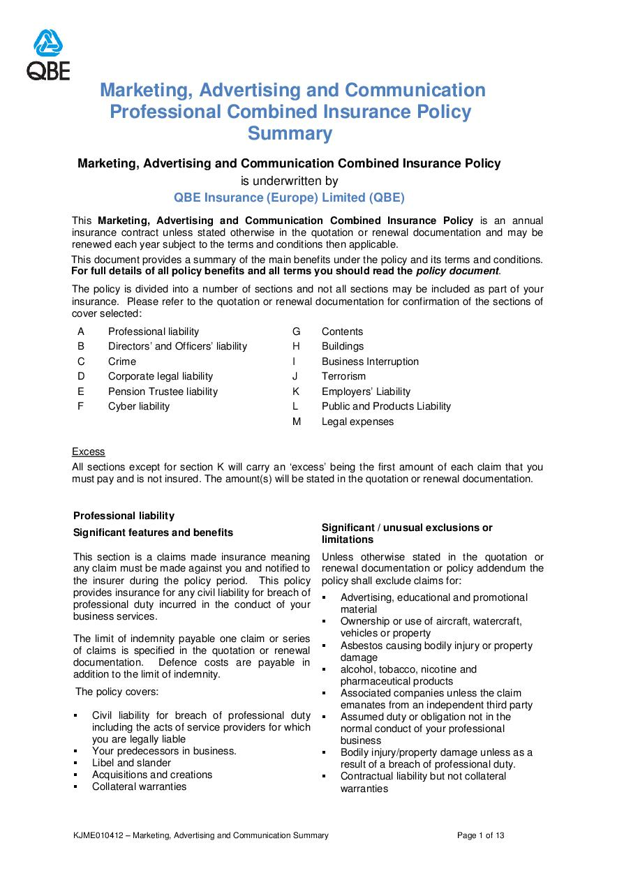 ARCHIVE - KJME010412 Marketing, Advertising and Communication Professional Combined Summary