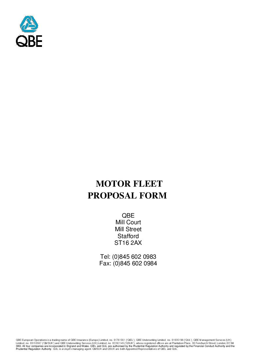 Motor Fleet proposal form (PDF 176Kb)
