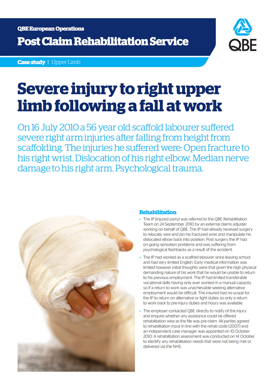 Severe injury to upper limb following a fall at work (PDF 1.6Mb)