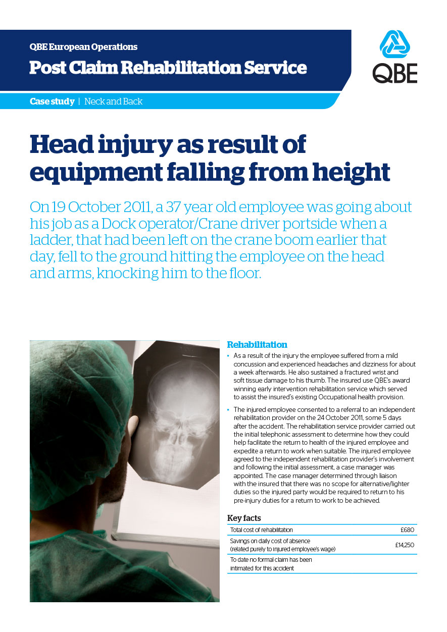 Head injury as result of equipment falling from height (PDF 147Kb)